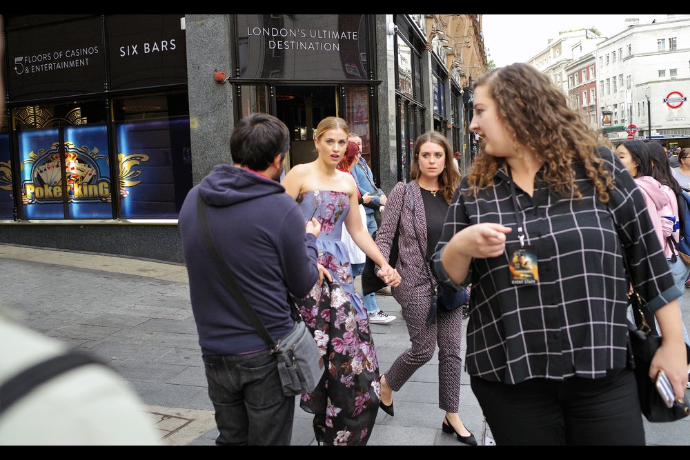 """ If you didn't want them to spot you, you should have dressed down for this event, not up"" . Our first arrival to run the gauntlet of C-grade autograph dealers, fans... and me and anybody in range with a mobile phone : is actress Stefanie Martini."