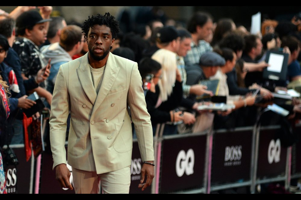 """They're always so disappointed when I can't point to where Wakanda is on a map...""   - Chadwick Boseman is Black Panther in the MCU, and if London had the '  European Premiere  ' for that movie, you can rest assured I'd have photographed him there.... unless I'm still bitter about it.   Edited to add : He won the ""International Man Of The Year"" award on the night"