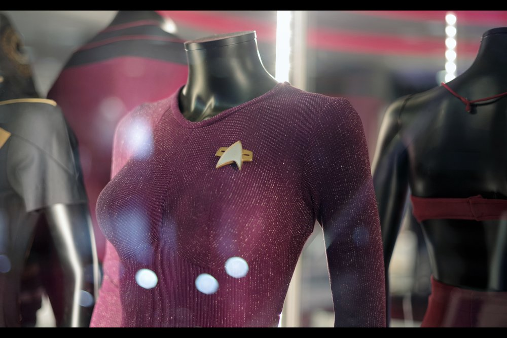 """I'm just a piece of clothing.... but you're making me feel uncomfortable.""  - Inanimate object don't have feelings, but fine. I'll go and photograph Jean-Luc Picard's Starfleet uniform... Seven of Nine Starfleet uniform from Voyager. Winning bid: £7,500."