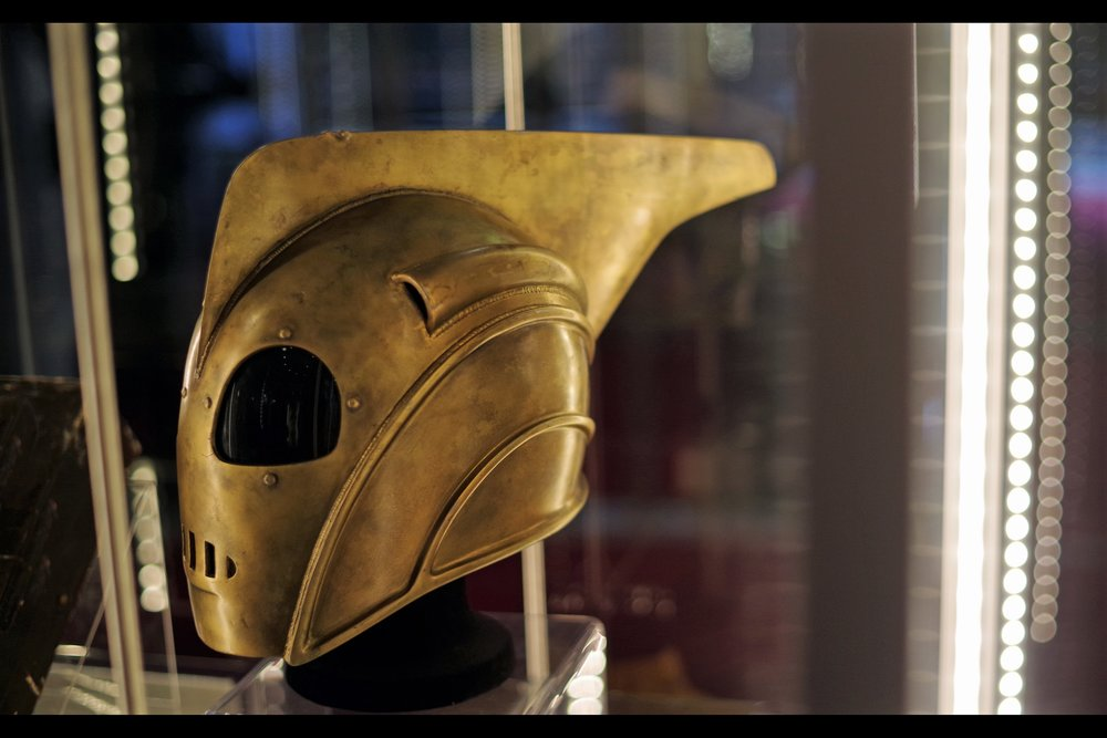"""It's from the early 1990s so it doesn't have an Iron Man heads-up display inside, sadly...""  Rocketeer helmet. Winning bid: £22,500"