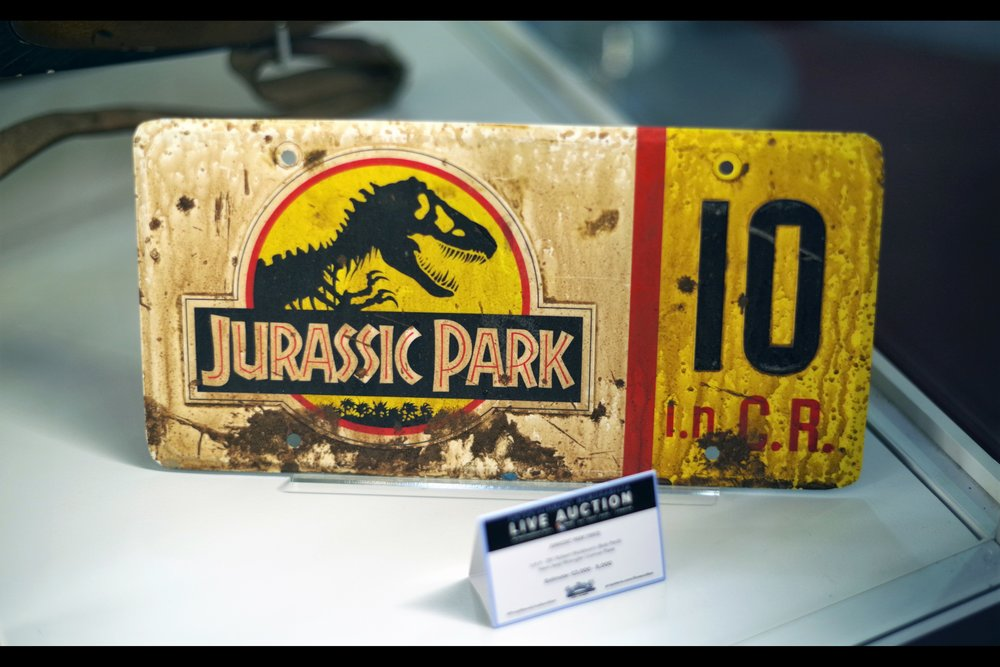 """No.. the dilophosaurus venom is on the other jeep's number plate""  Muldoon's jeep wrangler number plate from Jurassic Park. Winning bid £9,000"
