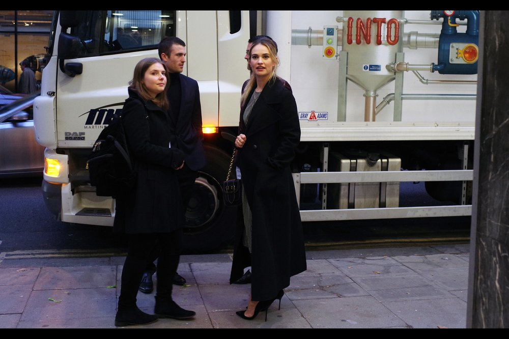 Snapping Lily James on a pavement kinda crosses a line into street-paparazzi I have no intention of crossing no matter how pretty and talented she is (she's in    Pride & Prejudice       & Zombies    and    Cinderella   ). But she IS standing in front of that amazing McDonald's Biodiesel truck.