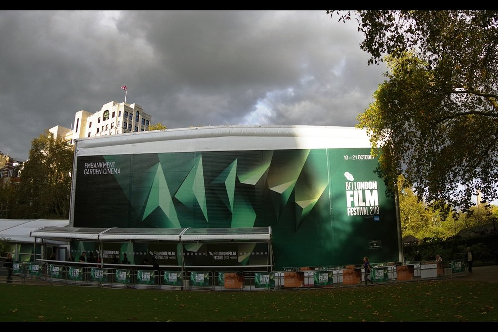 Fortuitous ray of light on the corner of the BFI's temporary Embankment Cinema. Premieres here are typically (but not necessarily always) more lightly attended, though with a higher concentration of autograph dealers. Mixed blessings, in other words.