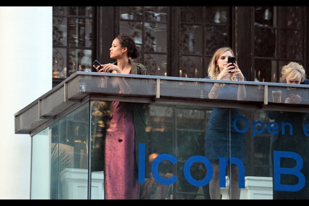 """Meanwhile, back on the balcony … is that actress GUGU MBATHA-RAW?? (checks wireimage… YES!) - she's a great actress : she was excellent the (equally excellent) movie    'Belle""""   ."""
