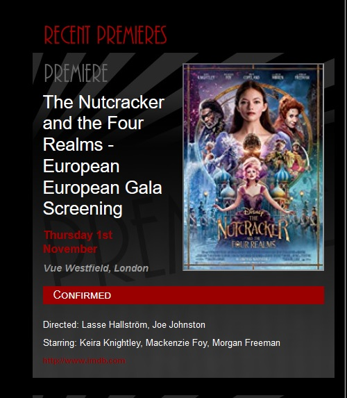 "in the afternoon of November 2nd, premierescene retrospectively exonnerates itself by now referring to the ""recent"" event it previously called a ""European Premiere"" …. a hastily-corrected ""European European Gala Screening"". Nice touch with the double-use of ""European"". You'd call it successful revisionist history…. if your skills were slightly better."