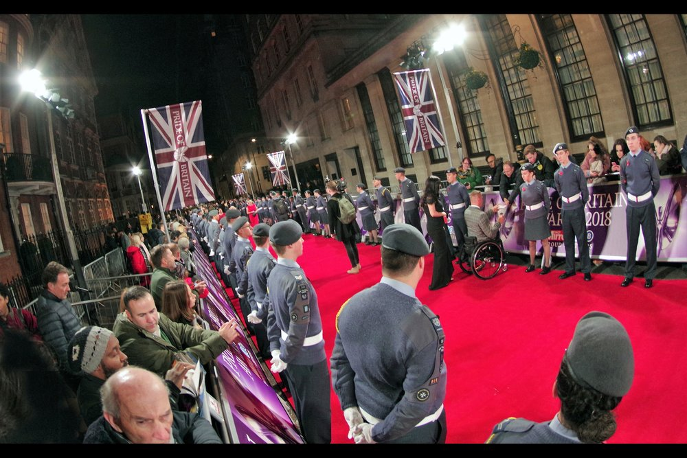 And just as I was warming to my new spot…. the red carpet was 'invaded' by an honour guard of (Proud and British) army / reserve / cadet people, all one arms-length from each other, all the way along the carpet. blocking all views along the red carpet.