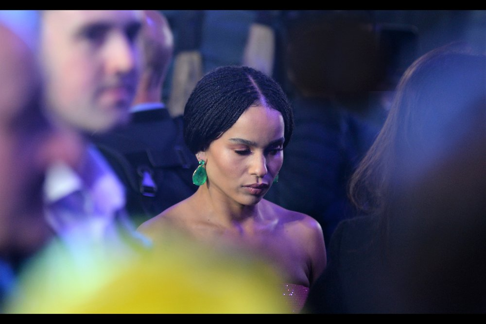 """If I close my eyes, all the screaming people disappear. Why didn't anyone tell me??""  In news closer to where I'm standing, it's Zoe Kravitz! She was in, among other things, the awesome Mad Max Fury Road."