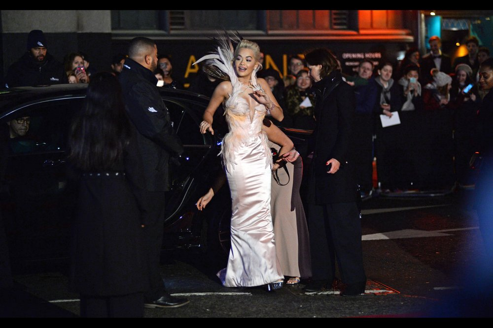 """""""We had to do things to the car to make the outfit fit… and I don't regret it for a moment""""  - the last arrival I photographed before charging to the nearest tube : Rita Ora."""