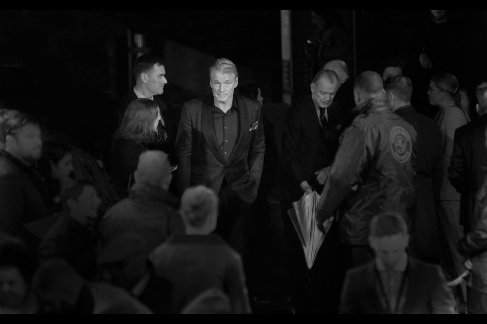 """Just gonna stand here waiting for the screaming to start.""  - Our first arrival is Dolph Lundgren, who played Ivan Drago in Rocky IV (and he was also in - and at    the premiere of Aquaman on Monday   ). Sadly, this premiere was not attended by the Silver Vespa himself <tm AlexCatalps / ""Michel""> - Sylvester Stallone."