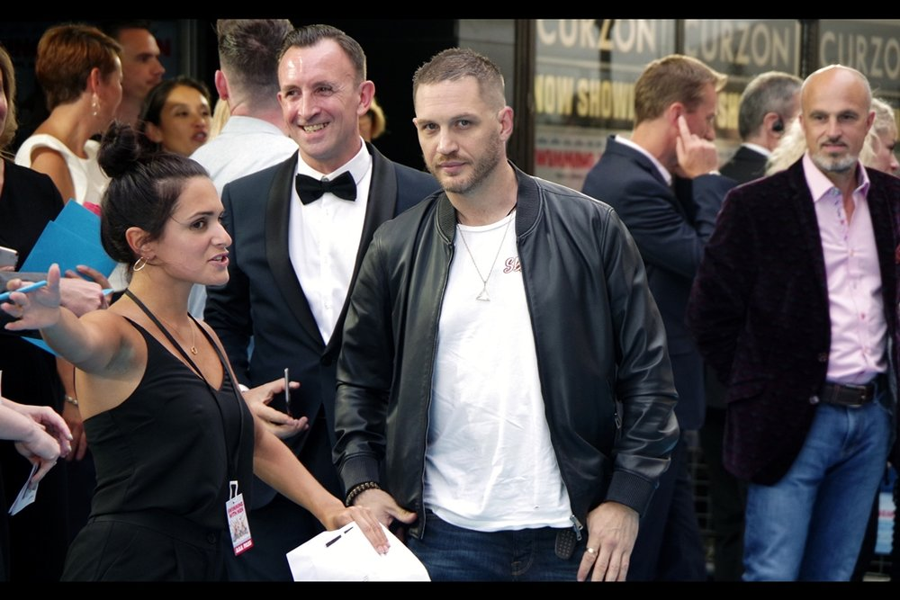"July 4th : he's not even in the movie, but Tom Hardy and I Share A Moment at the    ""Swimming With Men""    premiere."