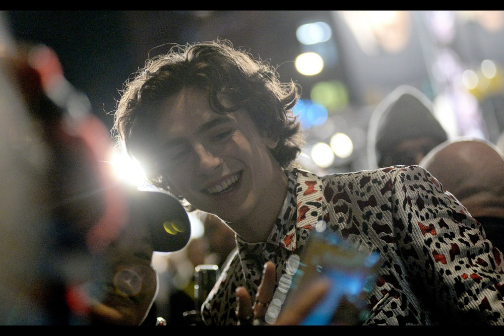 """Is it cool that you're so overcome with emotion that you can barely hold your mobile phone steady? Baby… it's MORE than cool""  - of all the people who arrived, nobody signed and posed for more people than Timothee Chalamet at this event."