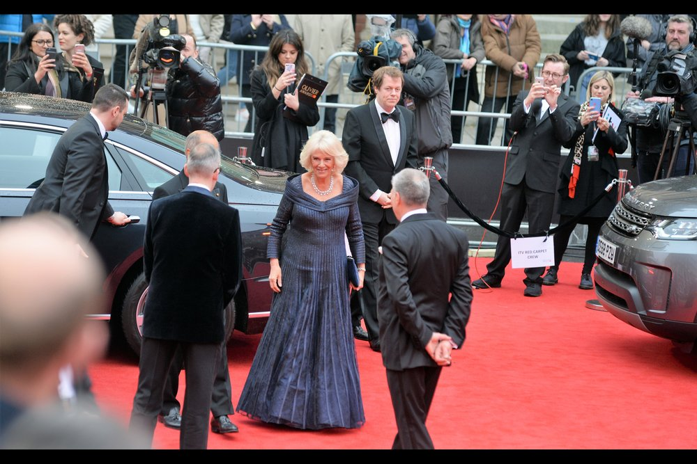 """One would consider grabbing a cider and popcorn if that bar they have is still open?""  It's Camilla Duchess of Cornwall, sans Prince Charles but with quite the dress-cloak and cheery smile"