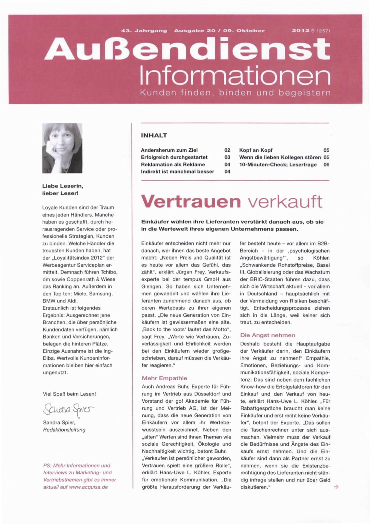 Außendienst Informationen - Ausgabe 20/ Oktober 2012
