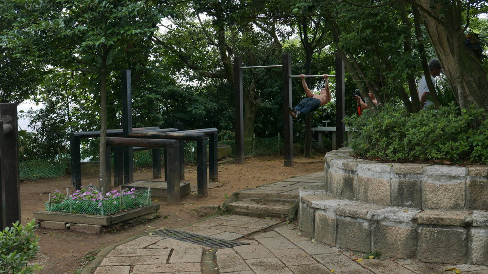 Working out in an open air gym on Elephant Mountain, Taipei. Photo: Leora Joy