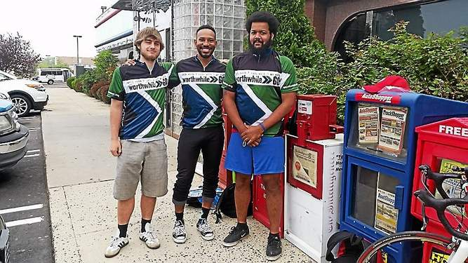 Jonathan Moore, left, Sly Williams and Jay Atlas, are biking cross-country to raise awareness about human trafficking. Photo courtesy of Worthwhile Wear