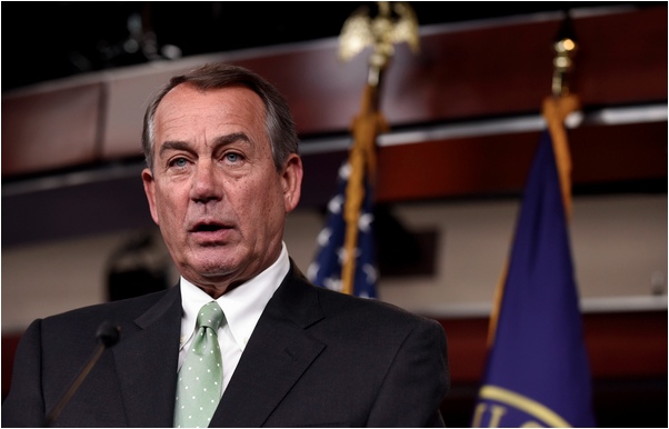 House Speaker John Boehner of Ohio speaks during a news conference on Capitol Hill in Washington on May 21 after signing a billthat expands law enforcement tools to target sex traffickers and creates a new fund to help victims. (Susan Walsh/AP)