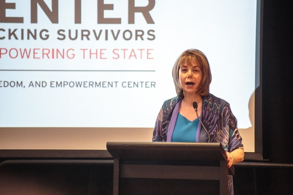 Susan Esserman, founder and director of the SAFE Center, speaks at the announcement ceremony on May 9, 2016. (File Photo/The Diamondback)