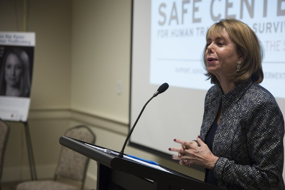 Susan G. Esserman, Founder and Director of the University of Maryland Safe Center for Human Trafficking Survivors, speaks about how common human trafficking in the united states, including in the immediate area. (Josh Loock/The Diamondback)