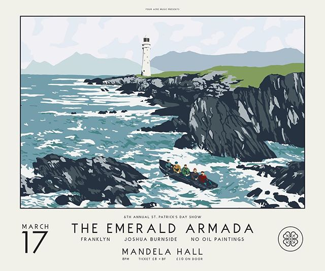 Just look at that for a poster!! Tix on sale now. Link in Bio. HUGE love to @angelandanchor for breaking on through to get this one ready! #poster #illistration #art #gig #stpatricksday #ireland #belfast #upthearmada