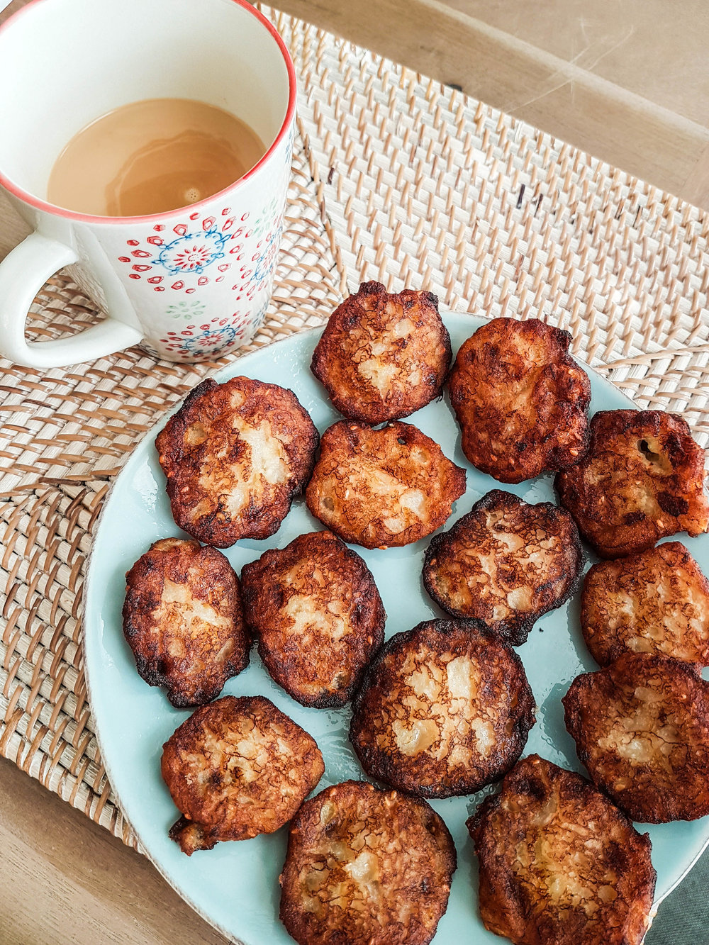 Warm Banana Fritters with a hot cup of Chai