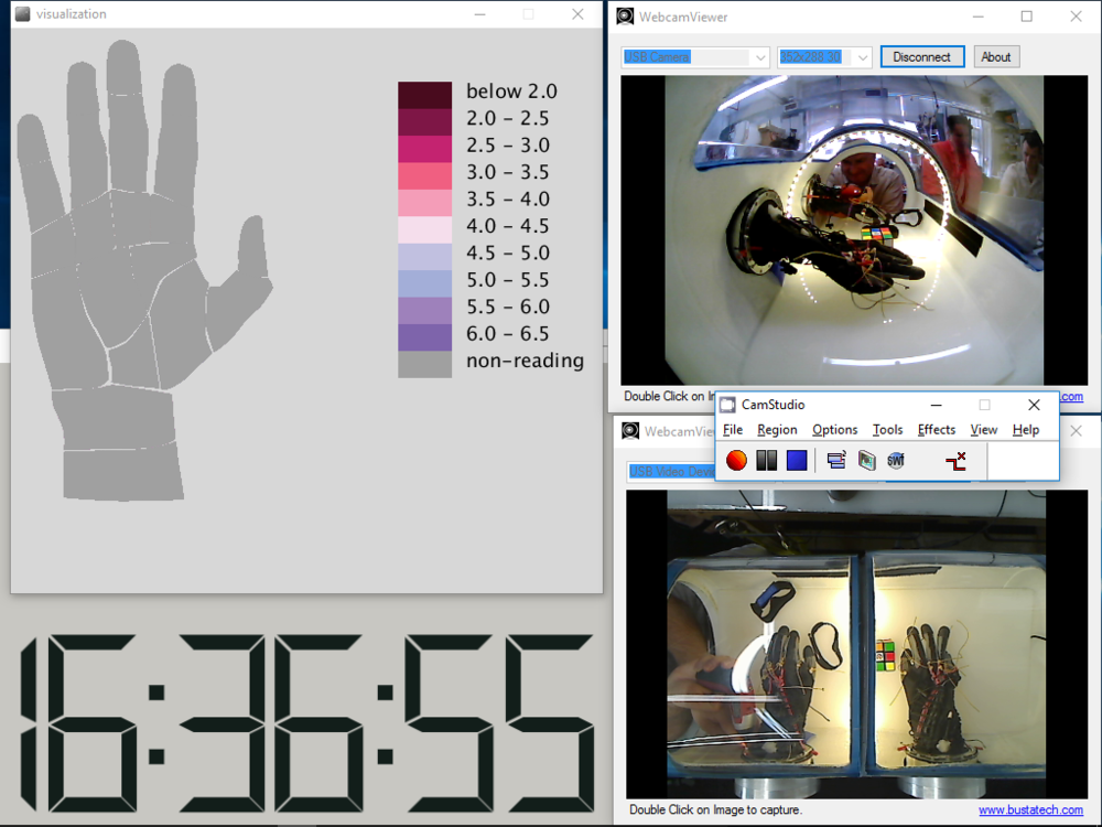 Closeup screenshot of FFD's pressure visualization and video documentation setup. (Credit: FFD)