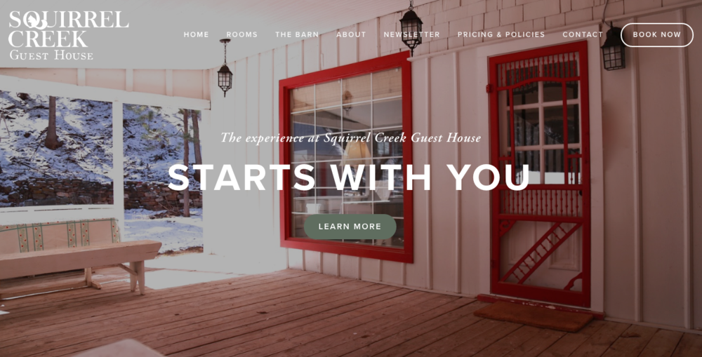 Squirrel Creek Guest House - Vacation rental, Airbnb, and retreat space. Beulah, Colorado. Logo design, branding, copy editing, website, social media design, print design
