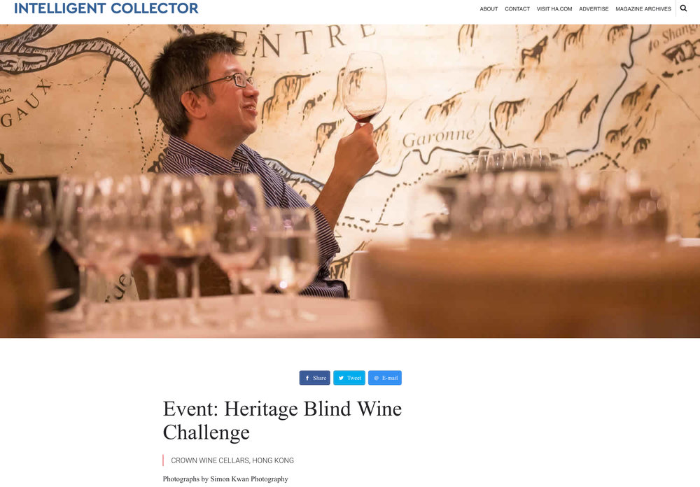 """Event: Heritage Blind Wine Challenge - The Intelligent Collector"" Crown Wine Cellars, Hong Kong 14.9.2016 Intelligent Collector Event Website http://intelligentcollector.com/event-heritage-blind-wine-challenge/"