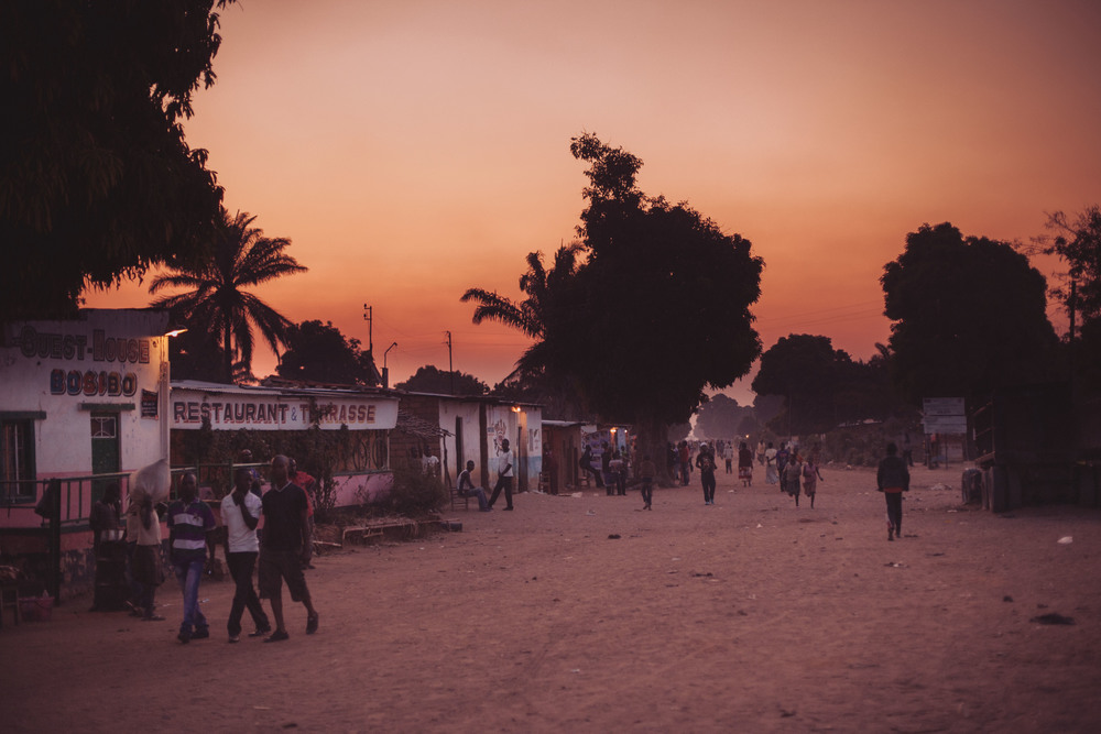 The sun sets over the main street in Mutshatsha