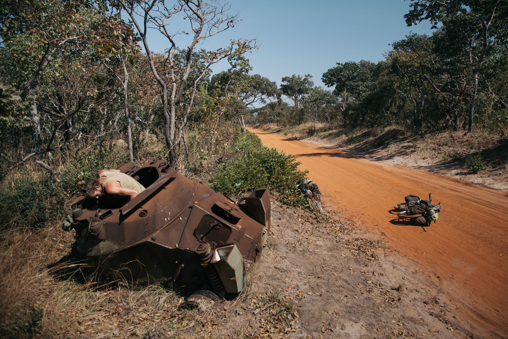 A Panhard armoured car lies destroyed from the previous Congo wars.