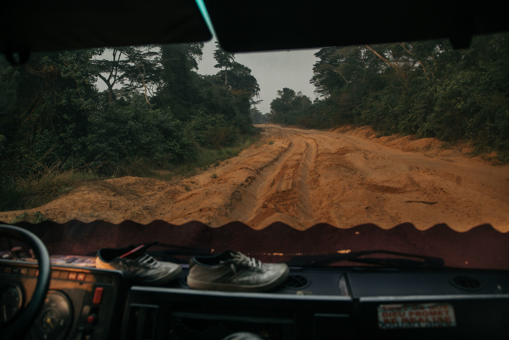 The road ahead to Kikwit. In the rainy season, what takes normally a couple of days can take months with trucks getting stuck and blocking the route.