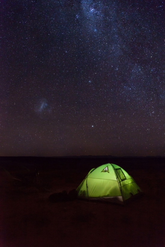 With the BMW out of action we set up camp under a starry sky