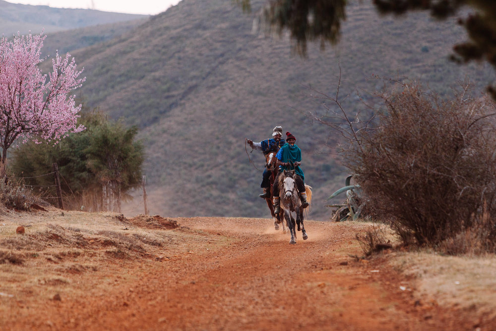 On the road to the border, we stumbled upon a Bosotho horse race taking place in a small village. Racing ponies are trained to 'tripple', a gait between a trot and a canter.