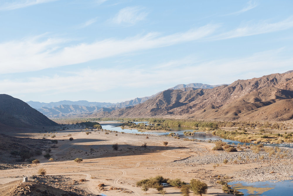 The Orange River separating South Africa on the left and Namibia on the right.