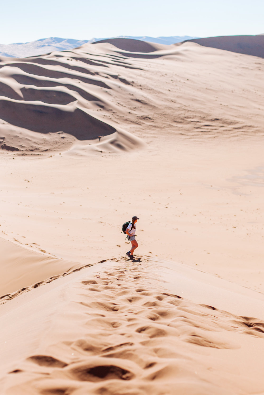 The Big Daddy ascent begins! At 325m high, Big Daddy is one of the world's tallest dunes.