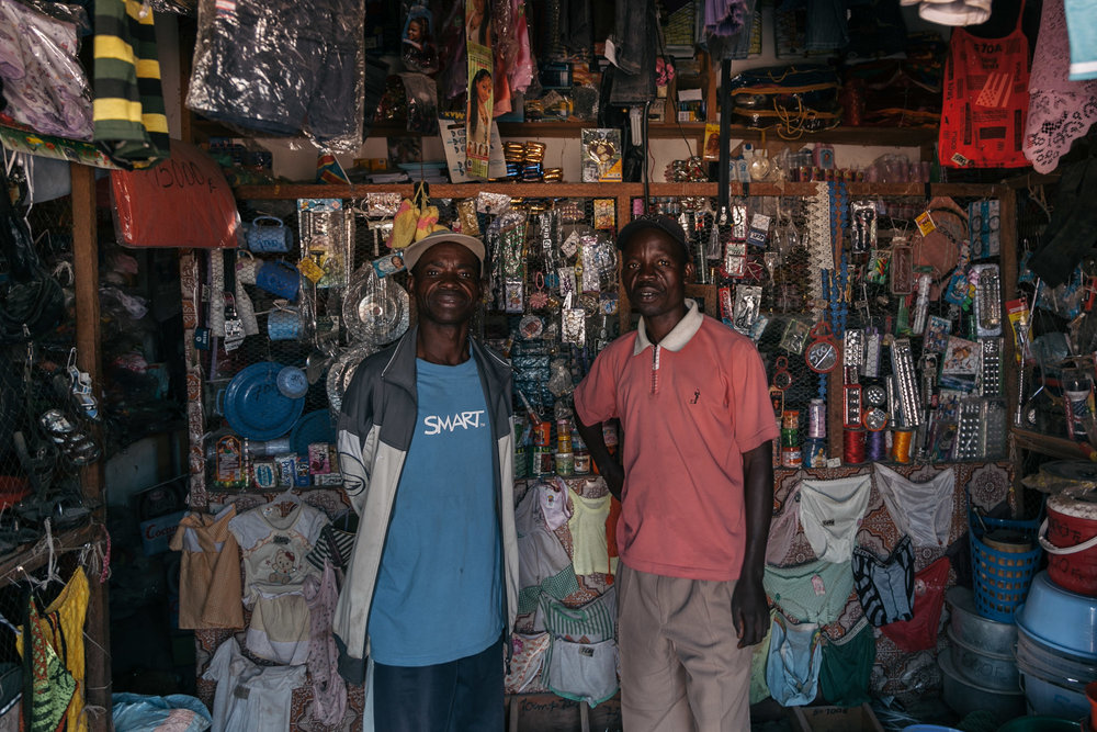 Two brothers in their store in Sandoa.