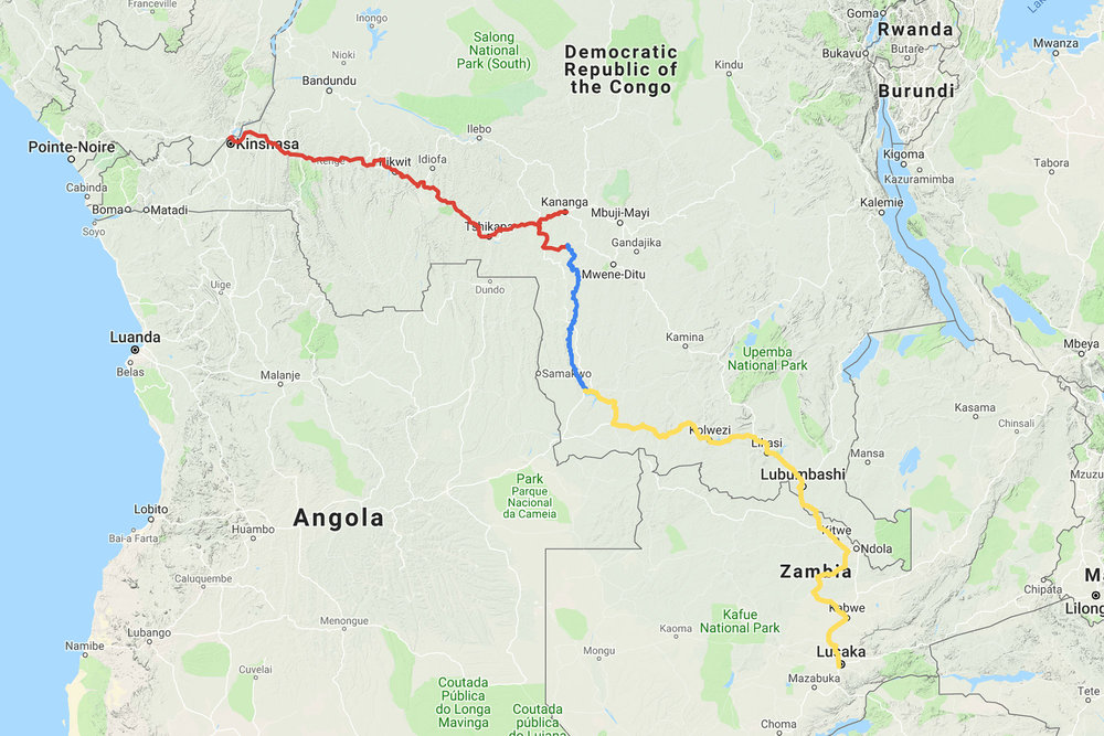 Red: The final leg on trucks to Kinshasa. Blue: Our journey along the River Lulua by piroque. Yellow: Our route from Lusaka to Sandoa by bicycle