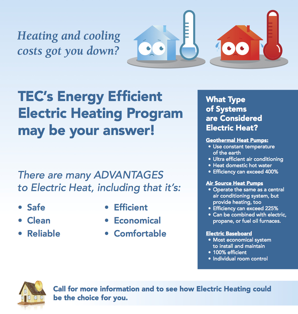 Heating and cooling costs got you down? TEC's Energy Efficient Electric Heating Program may be your answer! There are many ADVANTAGES to Electric Heat, including that it's: Safe Clean Reliable Efficient Economical Comfortable What Type of Systems are Considered Electric Heat?  Use constant temperature of the earth ultra-efficient air conditioning Heat domestic hot water Efficiency can exceed 400% Operate the same as a central air conditioning system, but provide heating, too Efficiency can exceed 225% Can be combined with electric, propane, or fuel Oil furnaces. Most economical system to install and maintain 100% efficient Individual room control. Call for more information and to see how Electric Heating could be the choice for you.