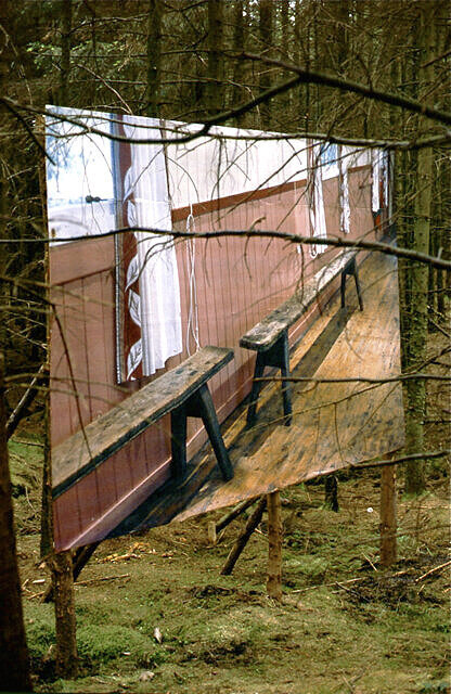 Untitled Billboard Installation, Grizedale Forest, 2002  460 cm x 400 cm  Grizedale Live, curated by Ceri Hand & Adam Sutherland