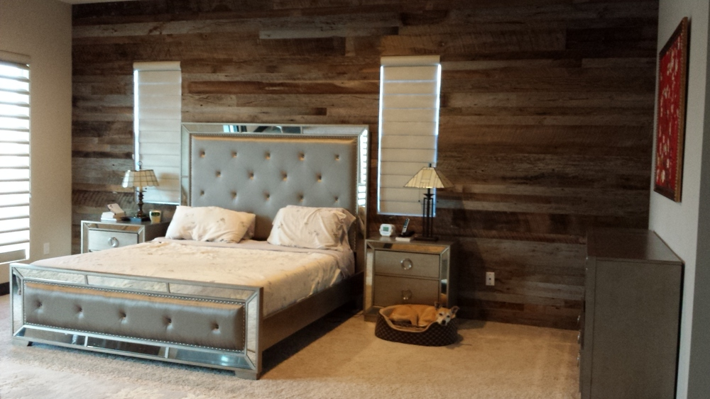 Reclaimed wood in browns and greys, purchased from Woodstock Architectural Products.