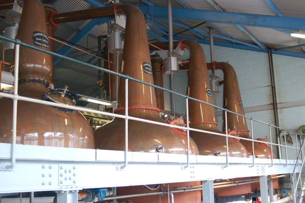 Copper Pot Stills at the  Laphroaig Distillery  in Islay, Scotland.