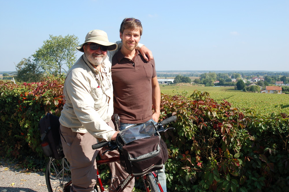 Wine can be a family affair too!  Hanging out with my dad in the vineyards of Burgundy.