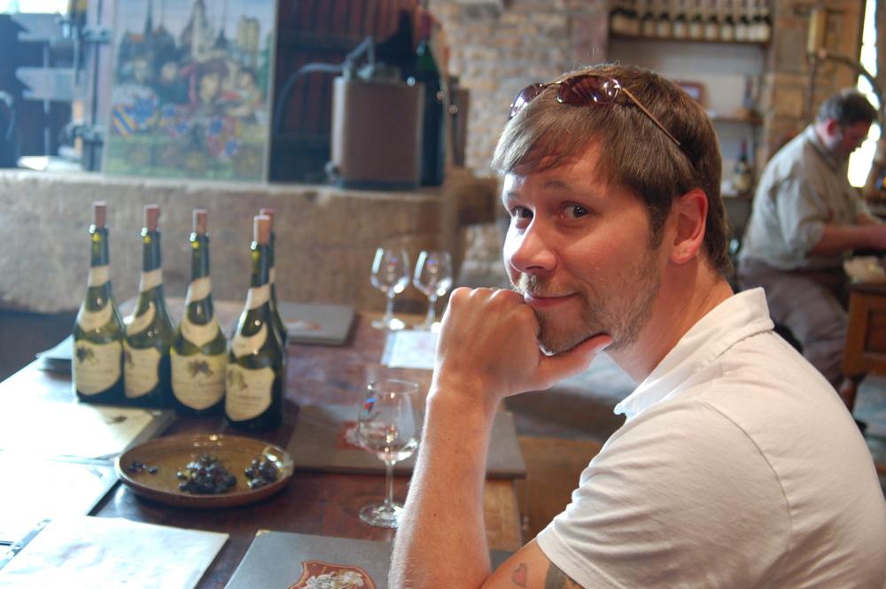 Tasting Pinot Noir in Gevry-Chambertin, Burgundy.
