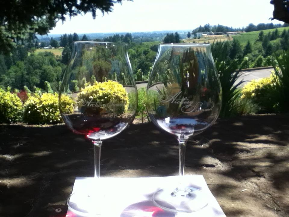 Drinking Pinot Noir at  Archery Summit  winery in Oregon.