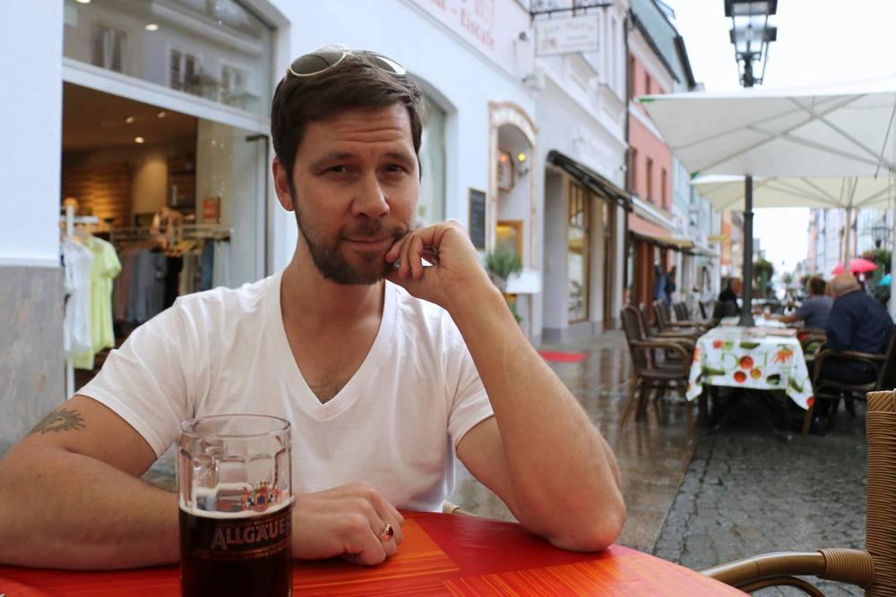 Enjoying aDunkel beer in the German town of  Füssen .