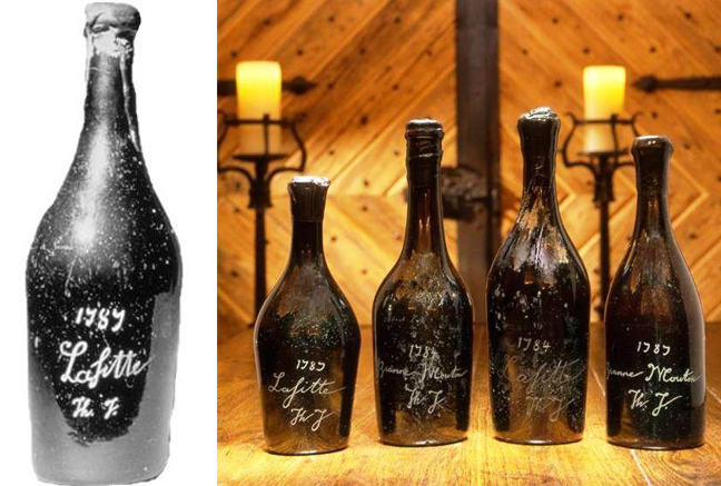 "The counterfeit bottle of Chateau Lafite (here, ""Lafitte"") bought by Malcom Forbes was part of a collection, four others were purchased by billionaire Bill Koch. Koch is suing the original seller for over half a million dollars."