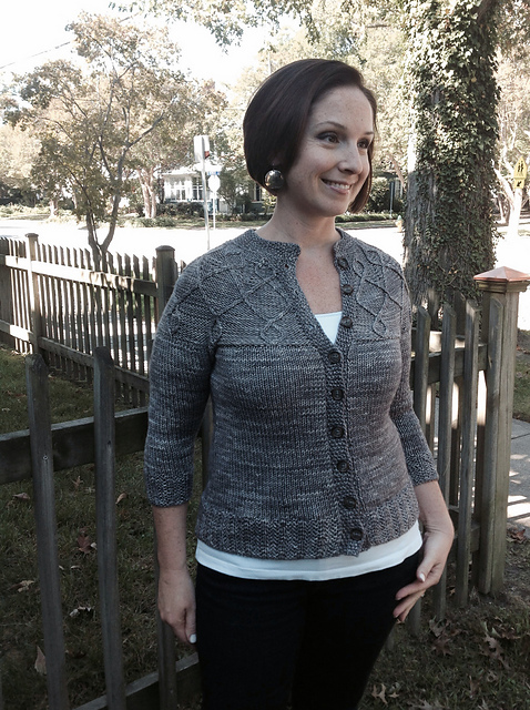 Woodsmoke knit by one of my test knitters, bonissa and modeled by her beautiful daughter.