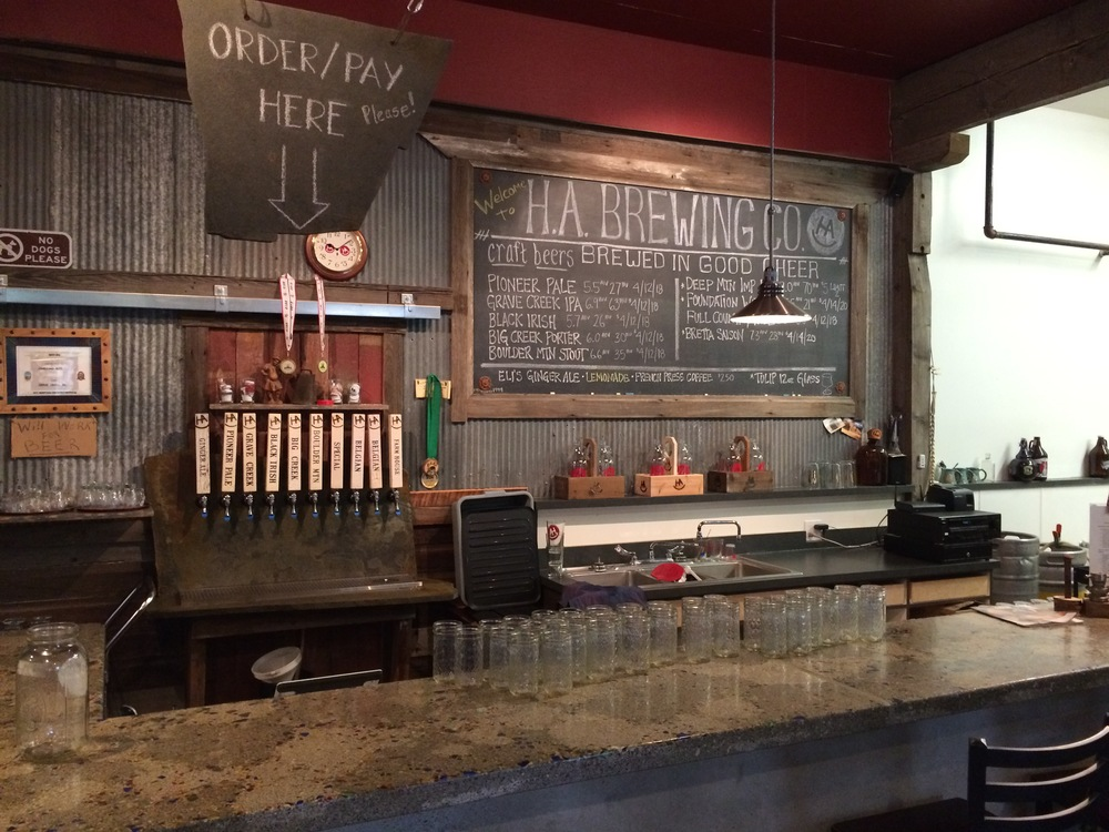 tap room bar next to the brewing area