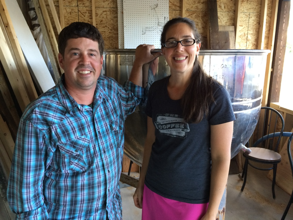 husband and wife teamDarin, head brewer, and Carla, general manager at backslope brewing