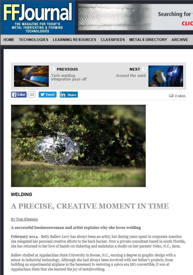 """FFJournal"" article - 2014   http://www.ffjournal.net/item/12010-a-precise-creative-moment-in-time.html"