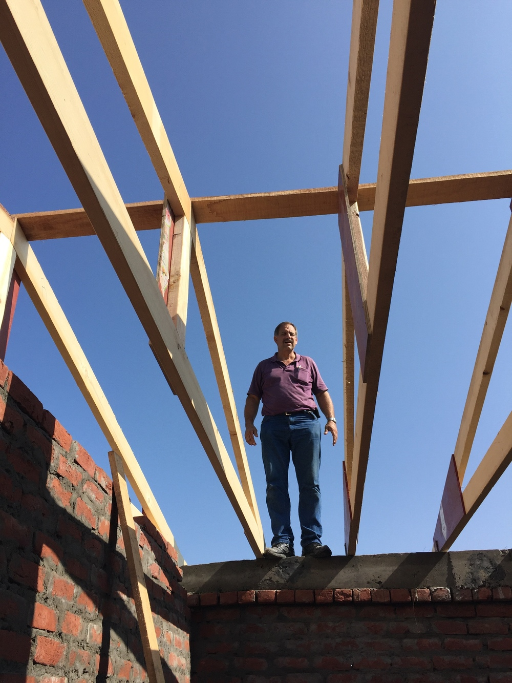 James among the trusses on girls dorm extension.jpg